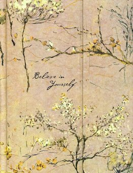 Picture of a journal with watercolour picture illustration of trees and blossom
