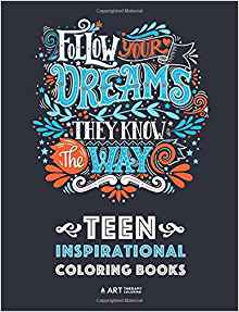 Picture of front cover of Follow your dreams teenage colouring in book