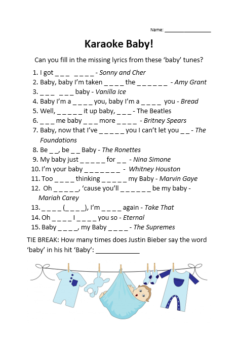 Missing lyrics baby shower game baby boy picture