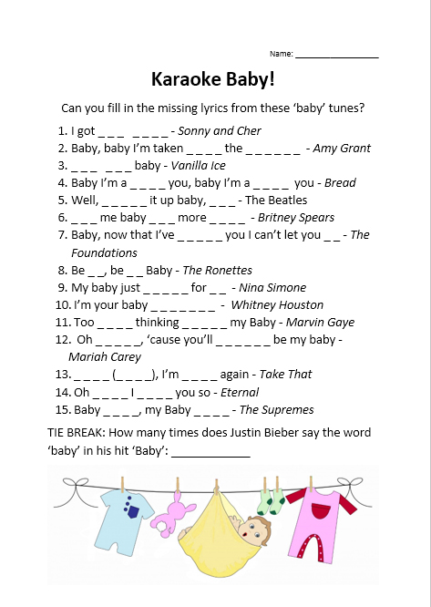 Missing lyrics baby shower game neutral picture