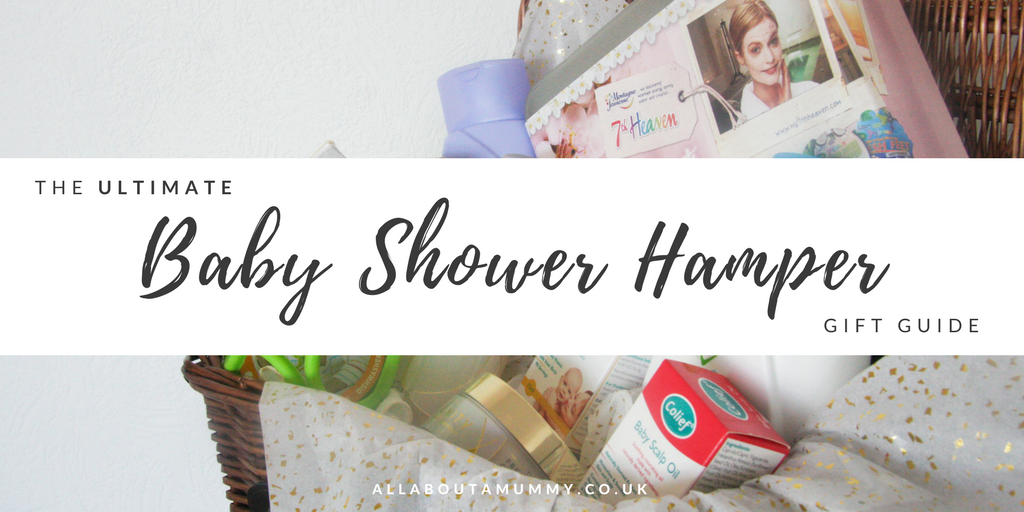 Picture of blog title with baby shower hamper behind