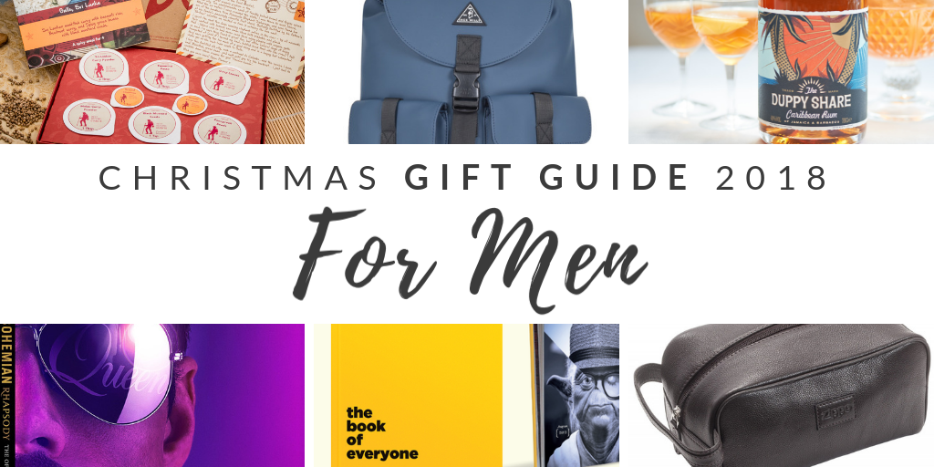 Picture of Christmas Gift Guide for Men gifts with blog posts title across