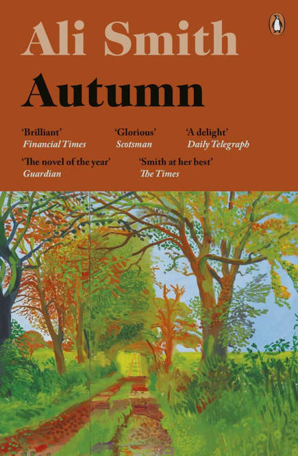 Picture of Autumn by Ali Smith Book Cover featuring David Hockney Autumn lane with trees painting
