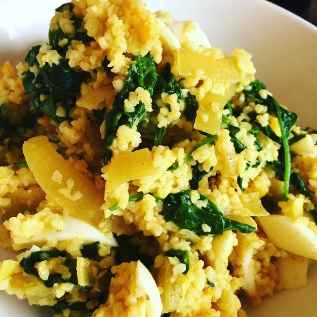 Picture Bulgur Wheat Kedgeree with spinach recipe
