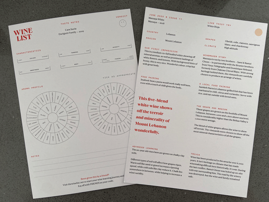 The Wine List Review - Tasting cards