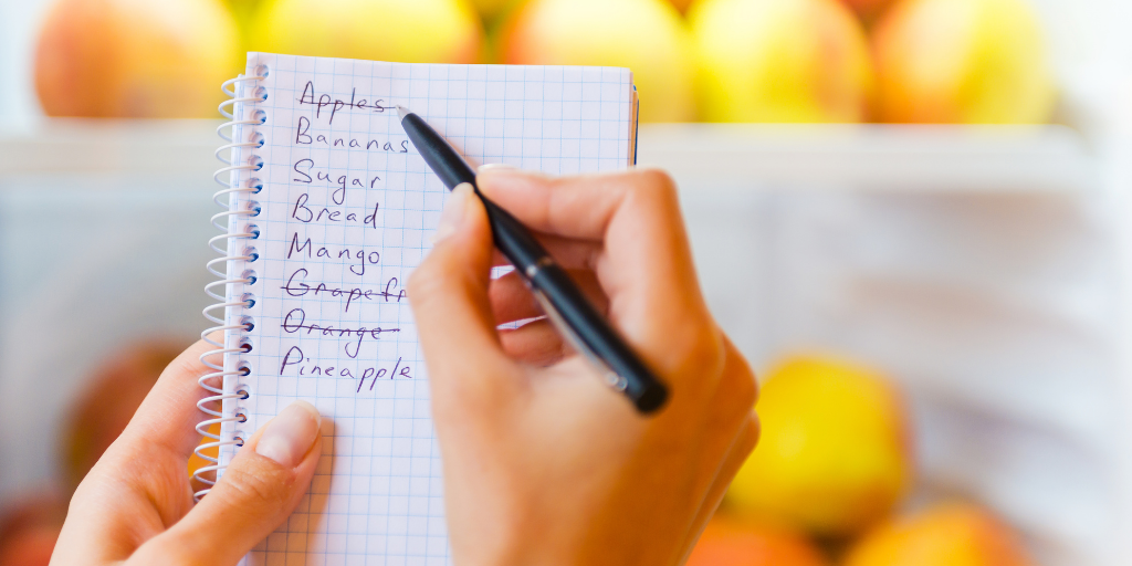 Picture of a shopping list with produce behind
