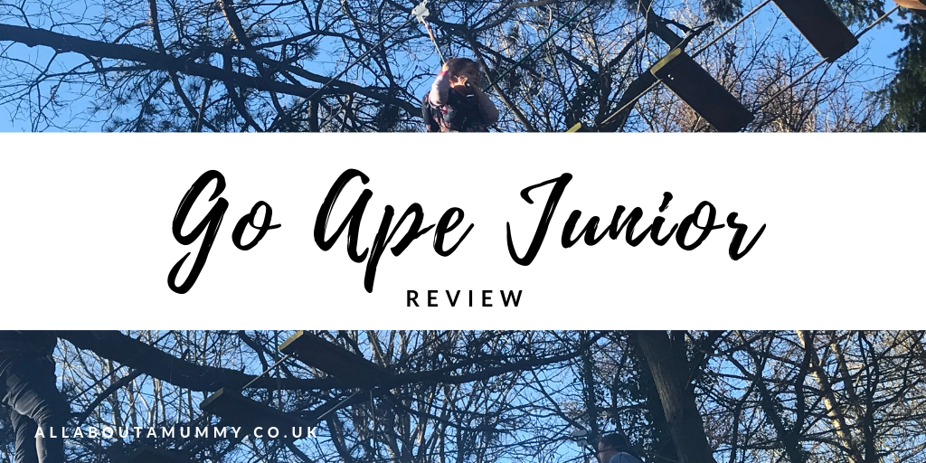 Go Ape Junior review blog post title with image of go ape junior behind