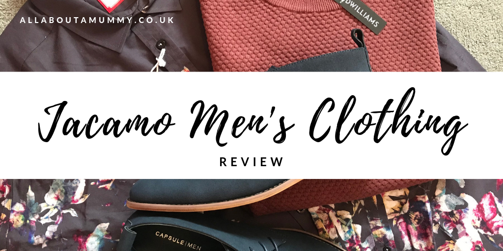 Jacamo men's clothing review title with flatlay of men's clothes behind