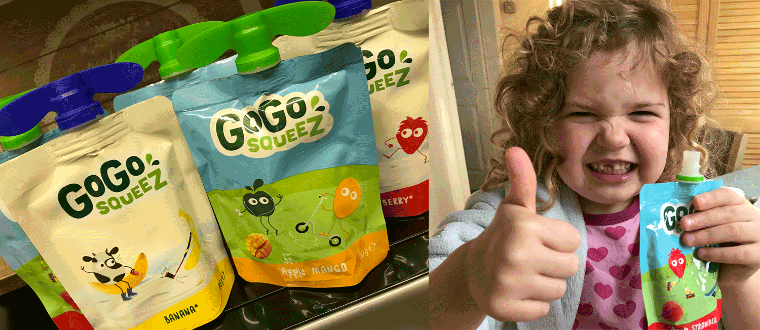 Picture of GoGoSqueez pouched and a girl giving a big thumbs up