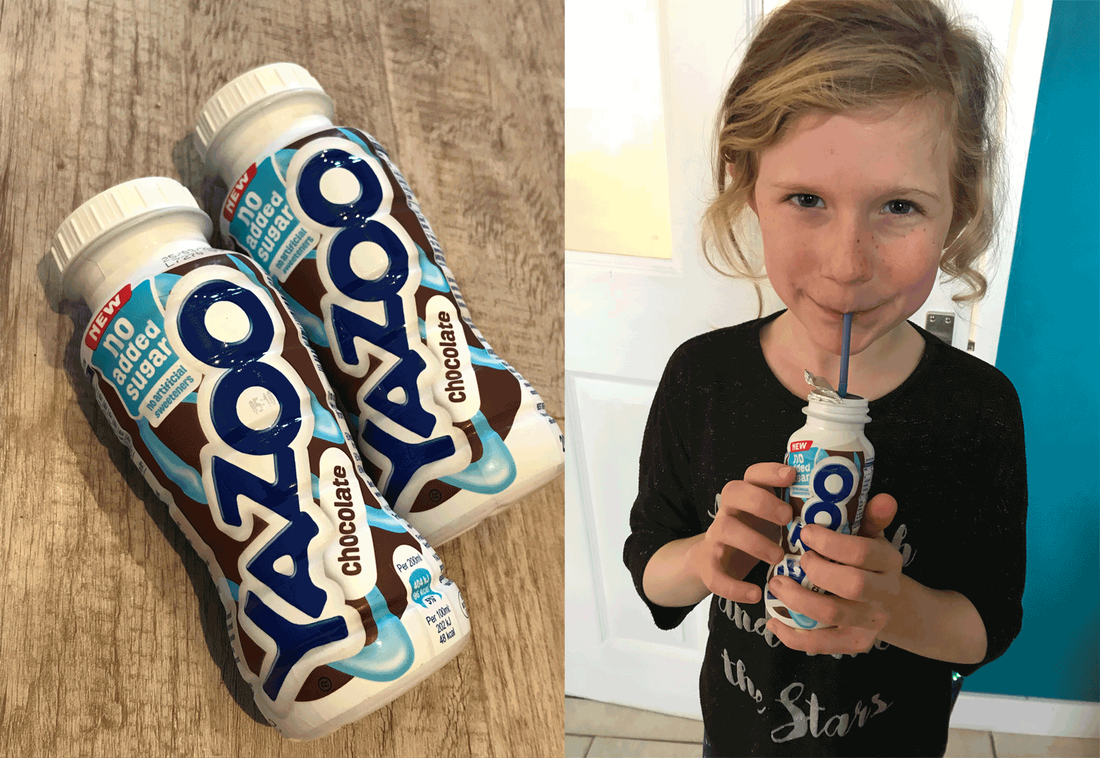Picture of Yazoo no added sugar chocolate milkshake and a girl drinking from a draw