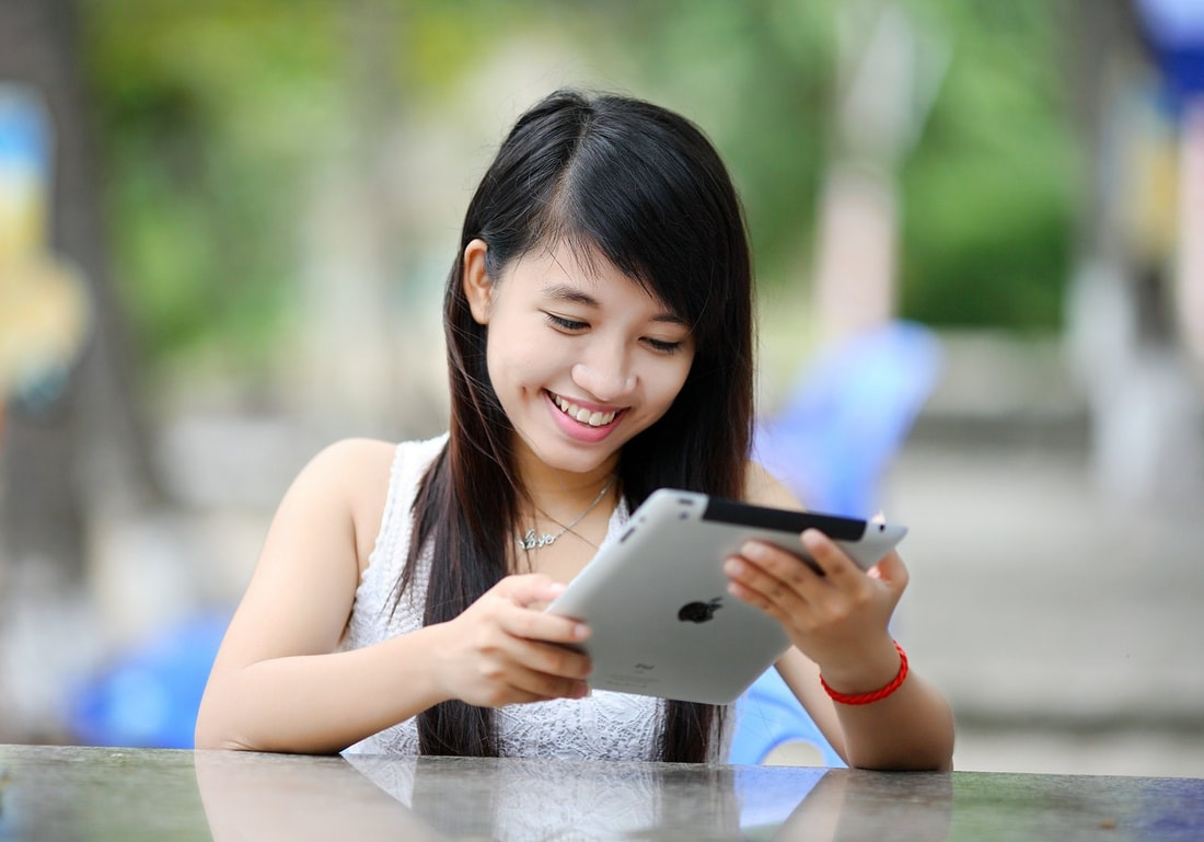 Picture of girl on tablet computer