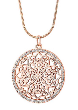 Rose gold filigree disc necklace from Debenhams