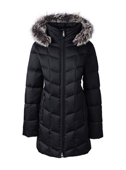 Lands End black hyperdry shimmer parka from Debenhams