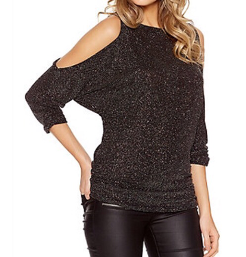 Quiz cold shoulder ruched black and gold glitter top from Debenhams