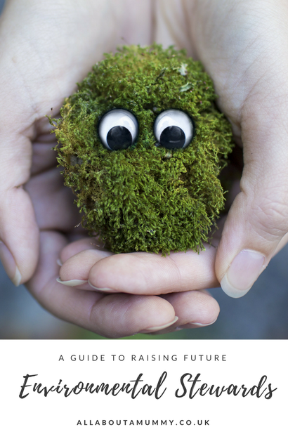 Picture of How to Raise an Environmental Steward Blog Post title with hands holding moss